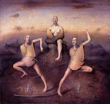 Odd Nerdrum painting. Two road engineers stumbled on it quite by chance.