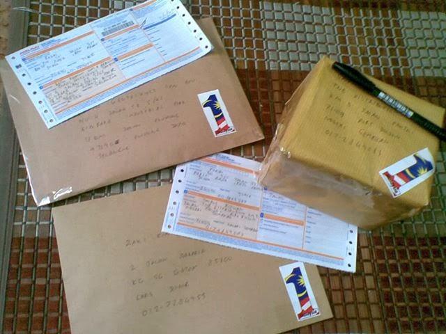 penghantaran mengunakan pos laju  atau skynet