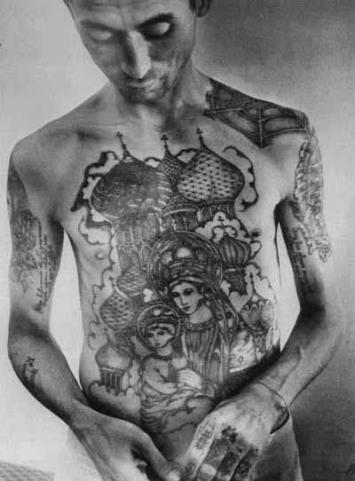 Cathedral tattoo, as seen on Russian criminal
