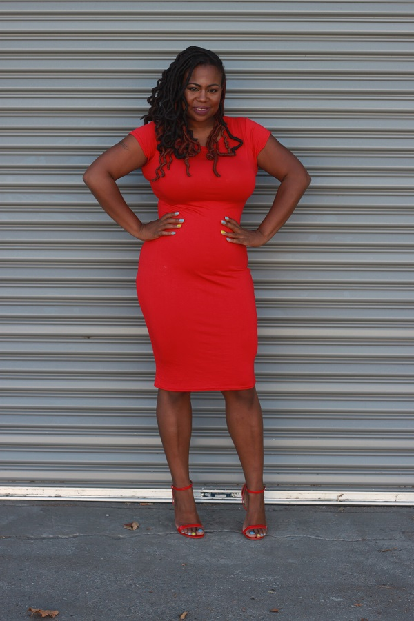 Red-Midi-Dress, ASOS, Plus Size Black Style Bloggers
