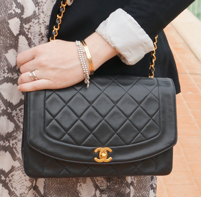 vintage Chanel quilted flap bag lady di
