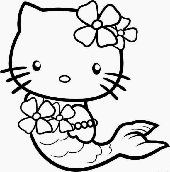 20 Free Printable Hello Kitty Coloring Pages Fit To Print Hello Mermaid Coloring Pages