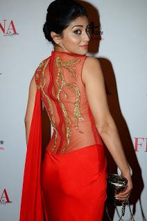 Shriya Saran in Beautiful Red Saree and Transparent Blouse Choli Stunning Fashion Icon Shriya Saran