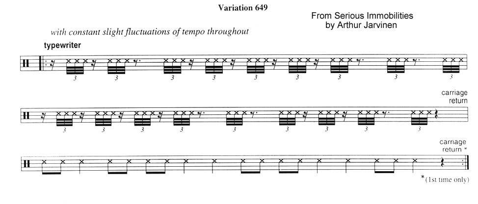Variation 649 from Serious Immobilities for piano by Arthur Jarvinen