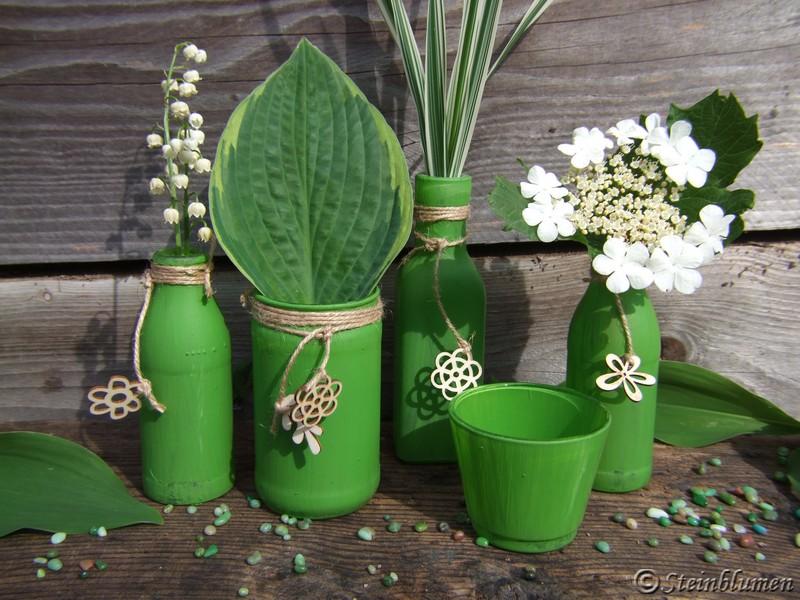 gruene Vasen selbstgemacht