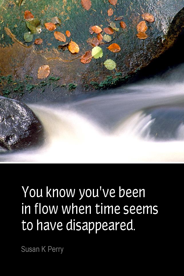 visual quote - image quotation for MINDFULNESS - You know you've been in flow when time seems to have disappeared. - Susan K Perry