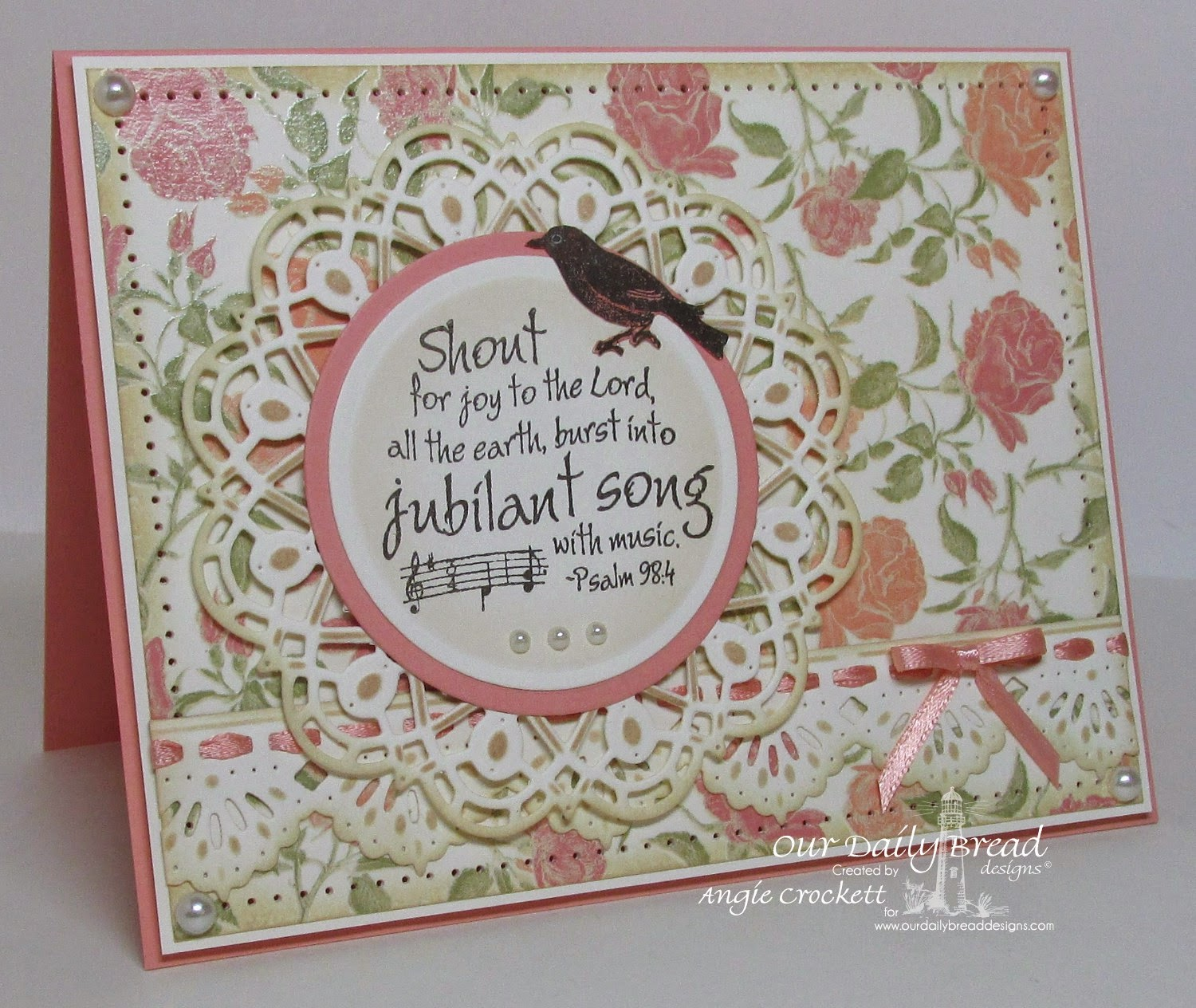 ODBD Music Speaks, ODBD Custom Doily Dies, ODBD Custom Beautiful Border Dies, Card Designer Angie Crockett