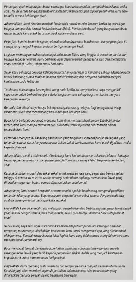 Kisah hidup ahli kumpulan ZERO, MLM 2014, Maharaja Lawak Mega 2014