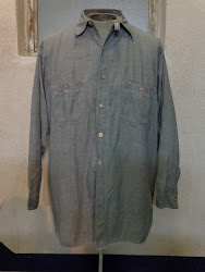 ~30's GRAY CHAMBRAY SHIRTS with CHIN-STRAP