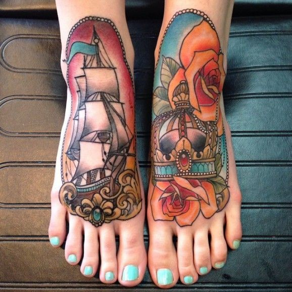 Gorgeous colors and neo traditional tattoo on feet by Eilo Martin