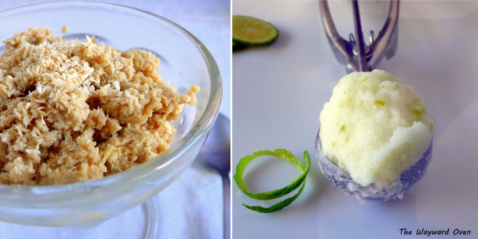 Toasted coconut granita (left) and lime sorbet