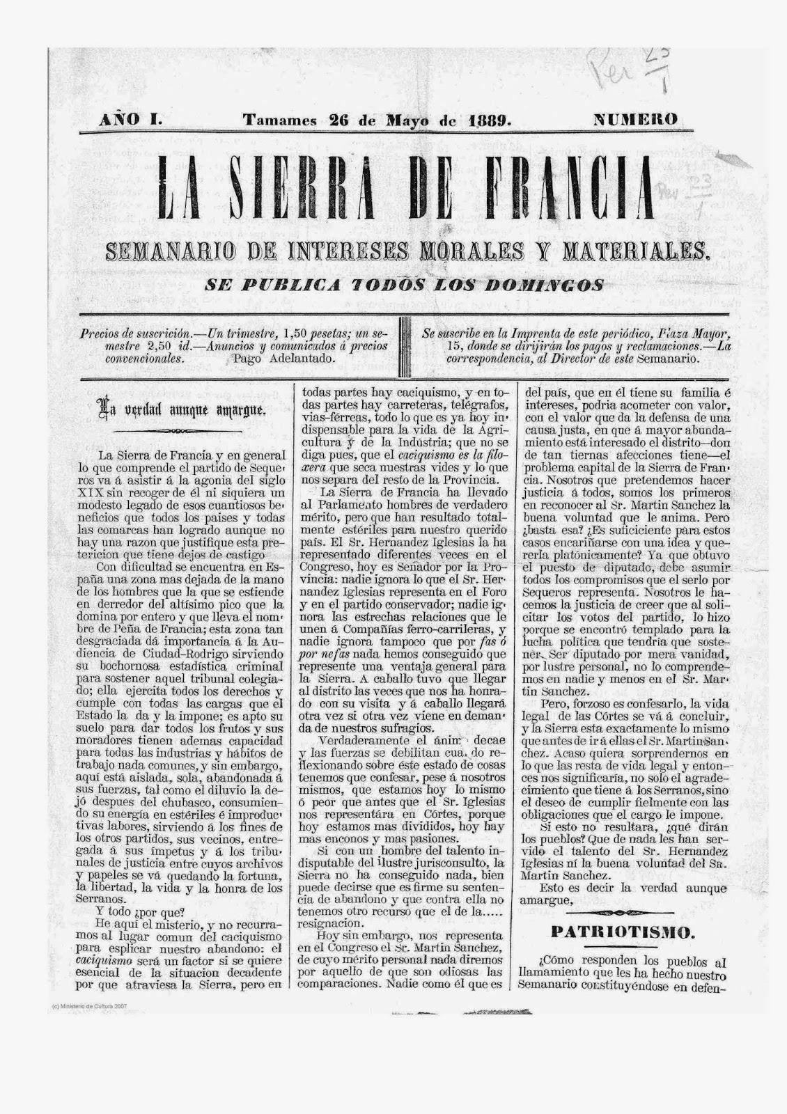 """Semanario """"La Sierra de Francia"""""""