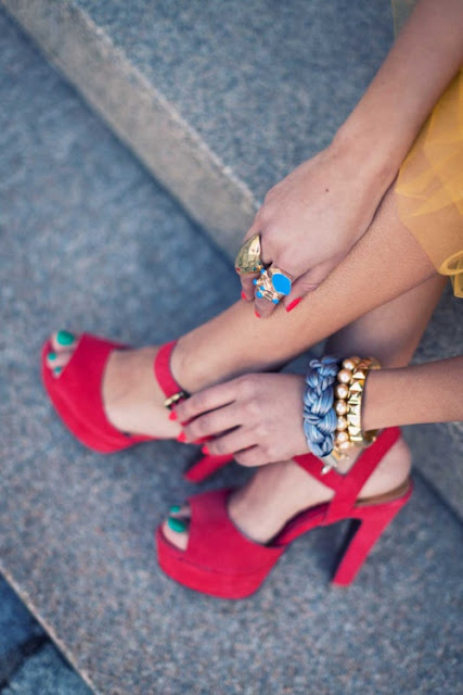 Red sandals and mint nails fashion for women