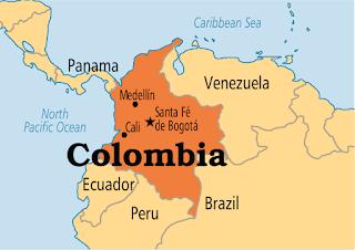 โคลอมเบีย - แผนที่ทางภูมิศาสตร์ของประเทศโคลัมเบีย