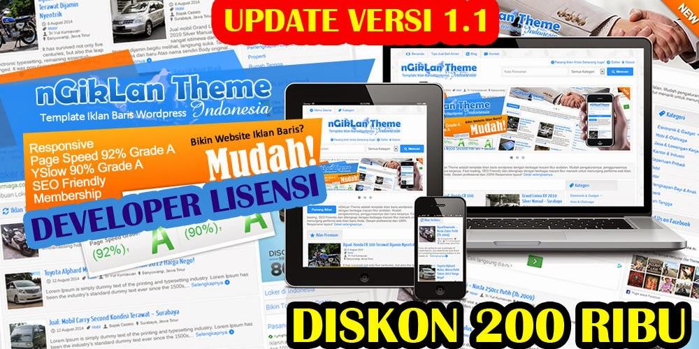 UPDATE: nGikLan Theme Versi 1.1 dan Versi Developer Serta DISKON