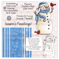Snow Tweet (in Blue) Digi Stamp and Paper Set