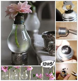 Como Hacer un Florero con Bombillas Reciclcadas