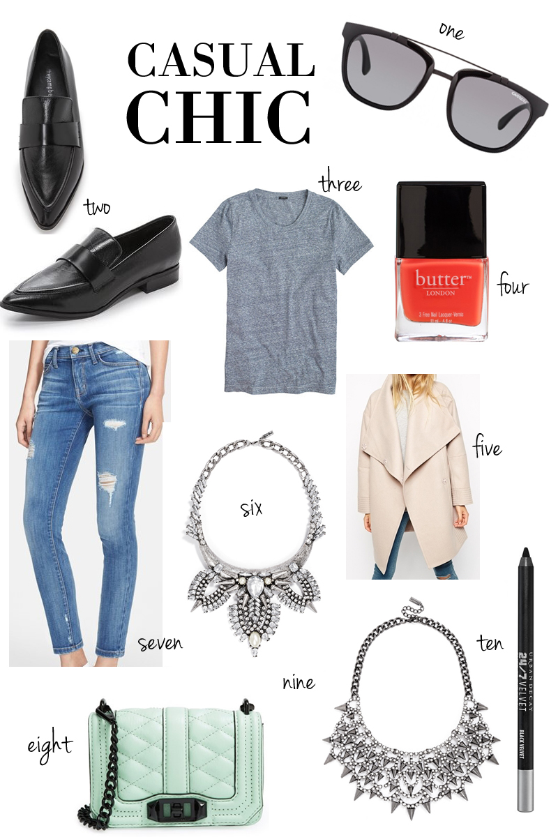 silver statement necklaces, pointy toe loafers, casual chic outfit idea