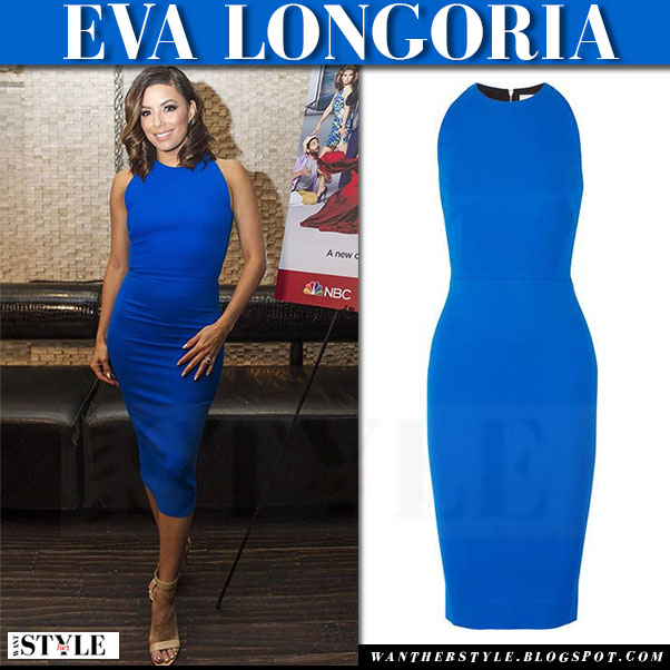 Eva Longoria in bright blue midi dress by victoria beckham what she wore