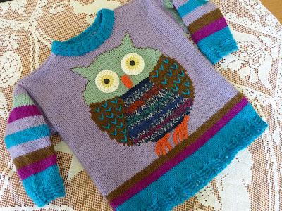 sweterek z sową, owl knitting