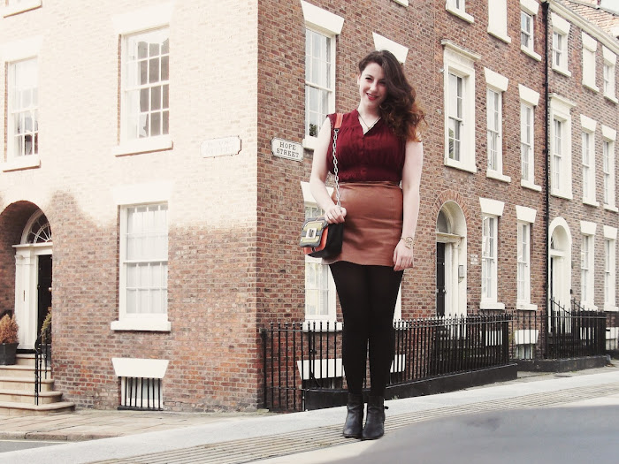 it's cohen - UK Style and Fashion Blog: what i wore, AW12, ootd, berry, oxblood, leather skirt