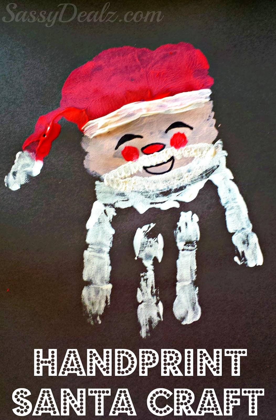 santa claus handprint craft for christmas - Santa Claus Craft