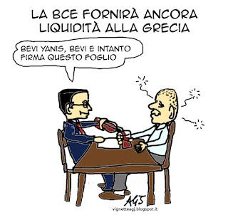 Grecia, Grexit, BCE, EURO, satira, vignetta