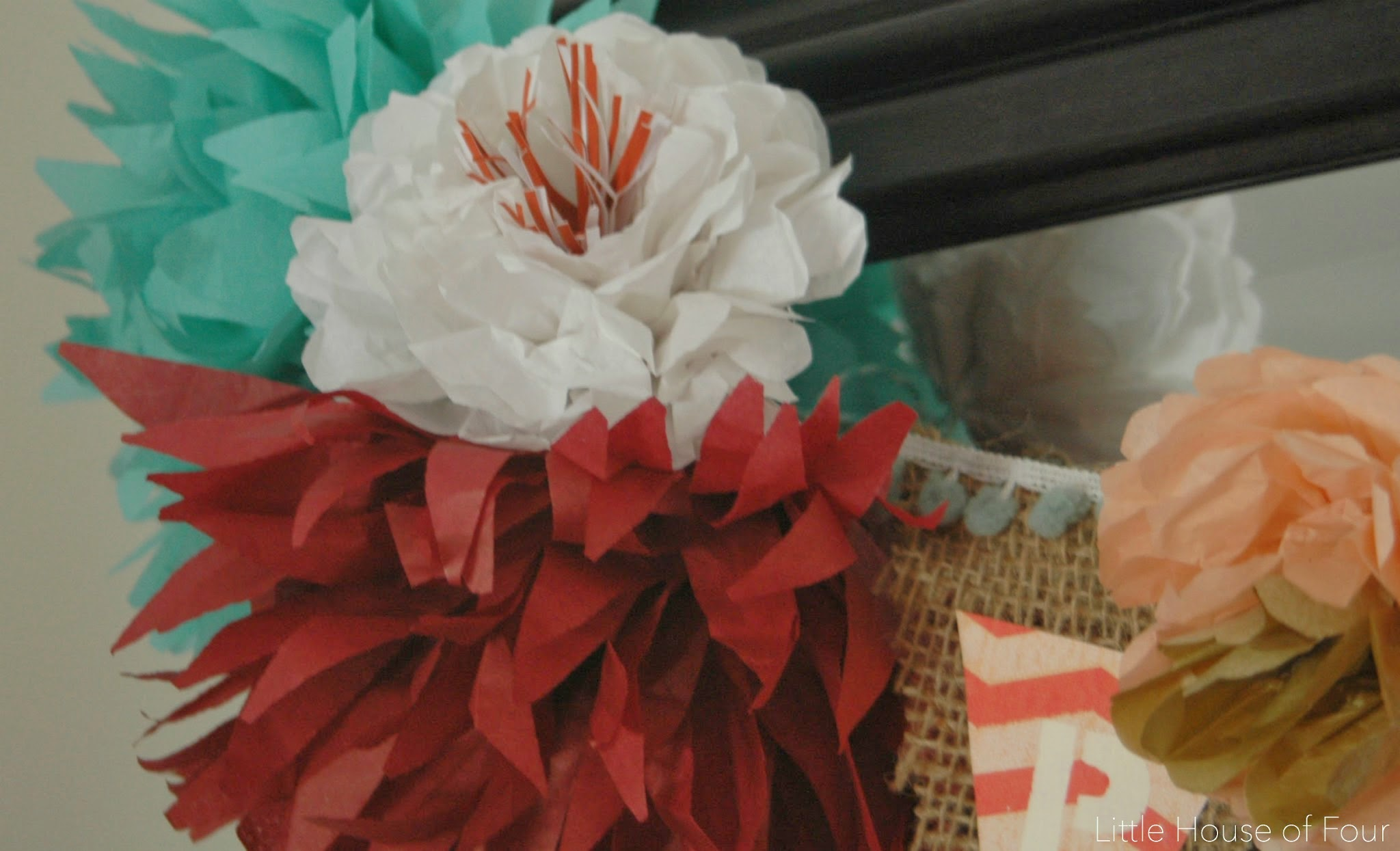 Tissue Paper Flowers And Burlap Garland Little House Of Four