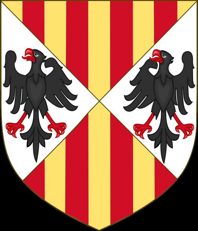 En el escudo de los RRCC, armas de Sicilia
