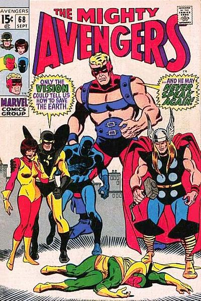 Avengers #68, the Vision is dead? Sal Buscema cover