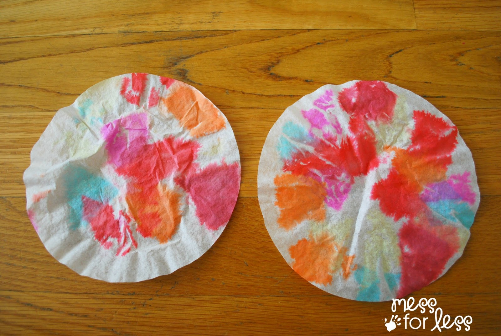 Coffee Filter Flowers made with Tissue Paper
