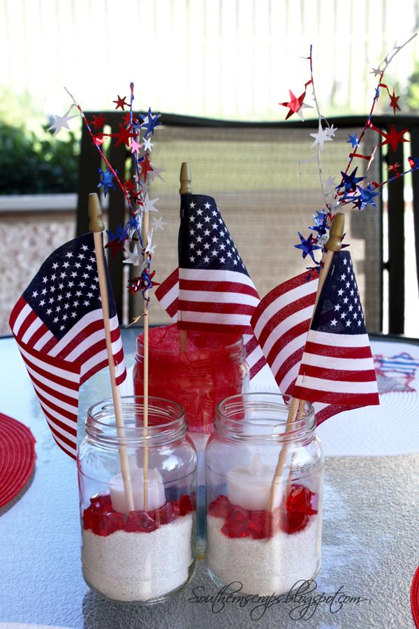 Southern Scraps Easy Patriotic Jar Centerpiece