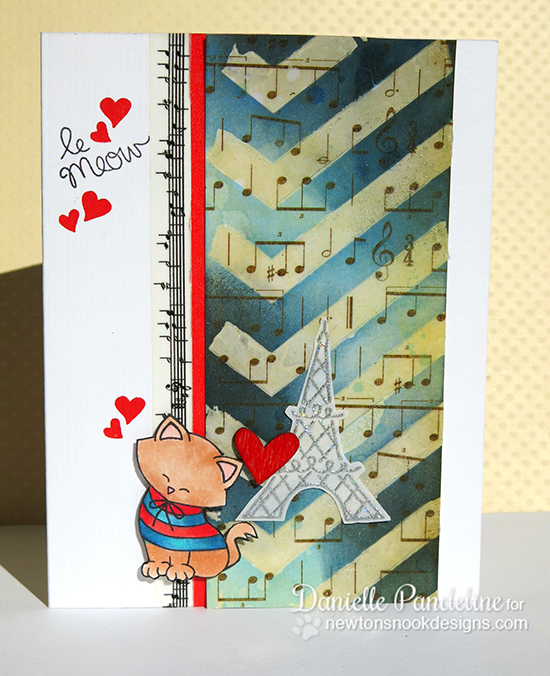 French Kitty Valentine Card by Danielle Pandeline | Newton's Nook Designs | Newton Dreams of Paris Stamp Set