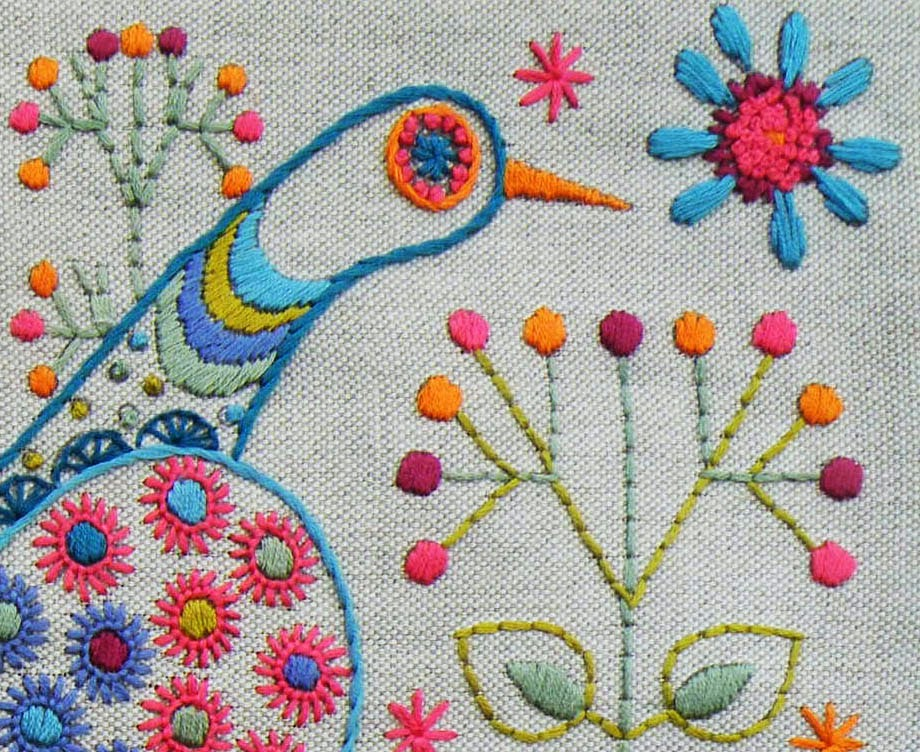 LongTail Bird Embroidery Cushion Kit Detail