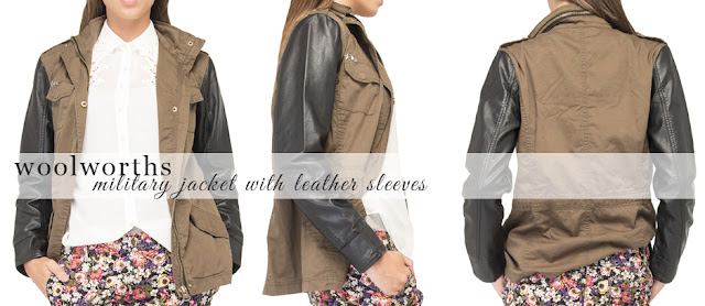 woolworths military jacket with leather sleeves