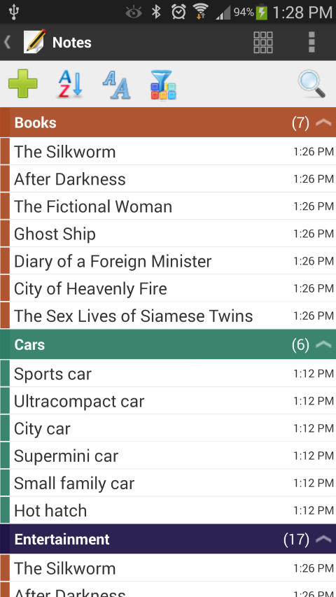 Android Notes Grouped by Categories in List Mode