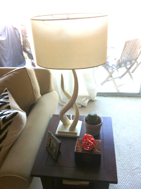 Living room before and after, Side table vignette, horn lamp, glass knot, Coffee table before and after, before and after, coffee table style, coffee table styling, coffee table design, coffee table vignette, patterned pillows, bench seats, velvet bench seats, turquoise bench seats, small l-shape couch, trellis rug, iron and glass coffee table, living room design, succulent, made her look, madeherlook.net, madeherlook.blogspot.com