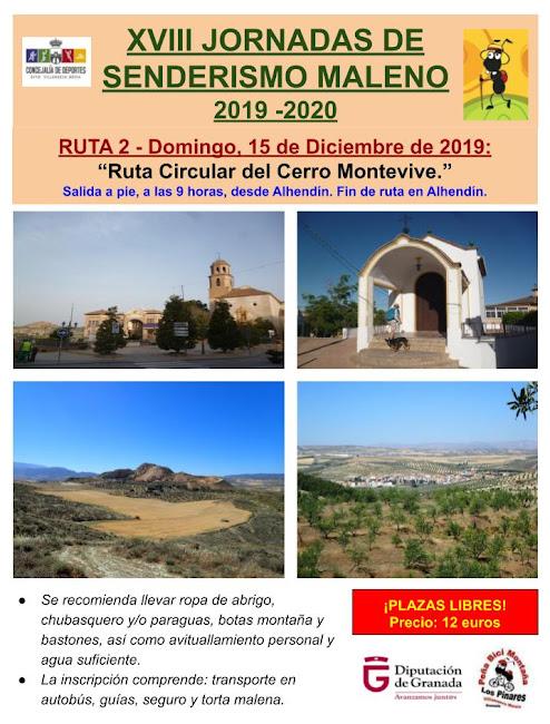 CONVOCATORIA 2ª Ruta de las XVIII Jornadas de Senderismo Maleno 2019/2020