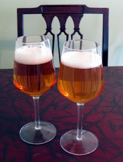 Left - White Peach Honey Wheat; Right - Yellow Peach Golden Sour