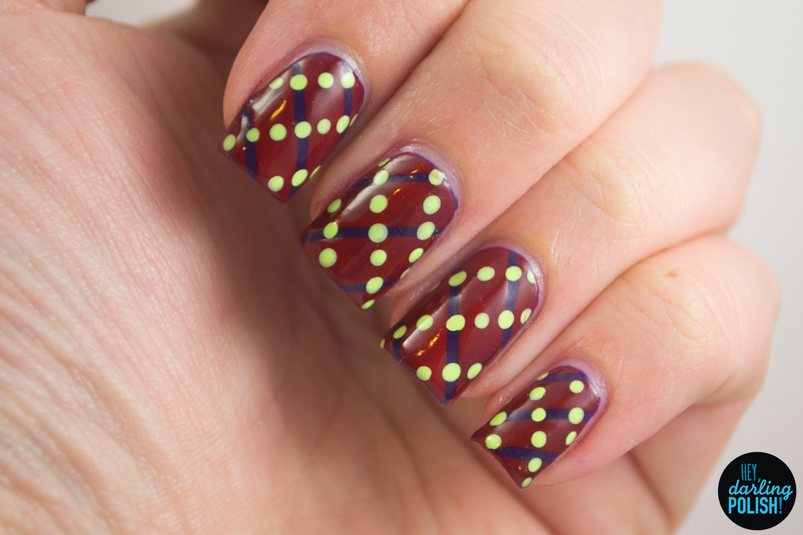 nails, nail art, nail polish, polish, stripes, dots, red, green, purple, tri polish challenge, tpc, hey darling polish