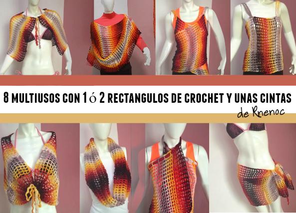 8 Multiusos con uno o dos rectangulos de crochet