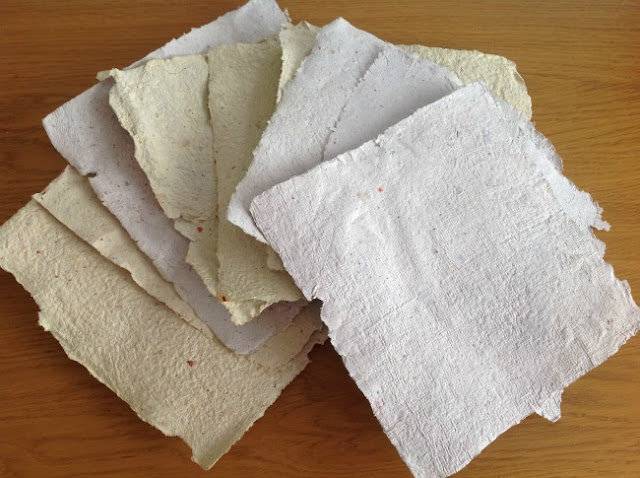 sheets of homemade paper
