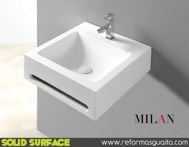 Lavabos compac milan en solid surface reformas guaita for Toallero lavabo