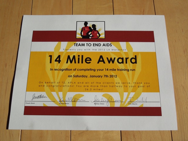 14 mile running certificate