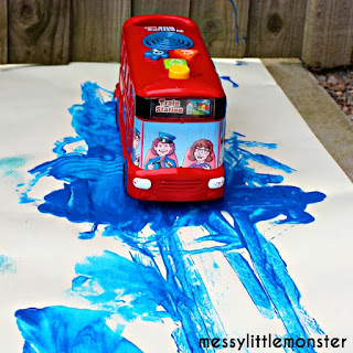 Wheels on the bus process art painting activity