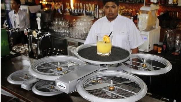 """Cadena de restaurantes de Singapour usara """"Drones"""" para sustituir meseros"""