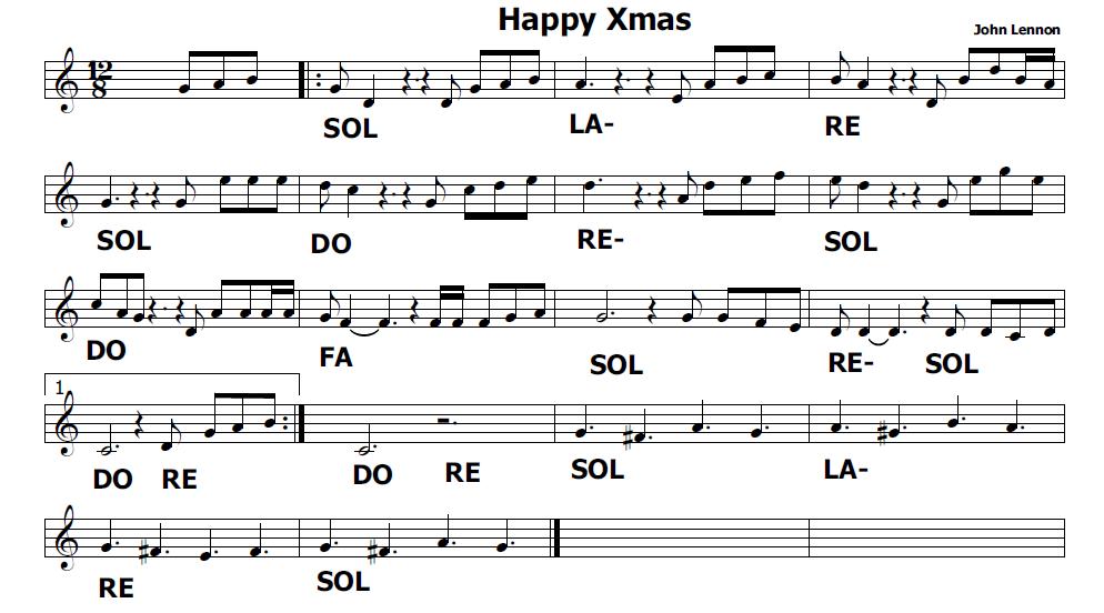 Musica e spartiti gratis per flauto dolce happy xmas di for Crea il mio piano personale gratuito