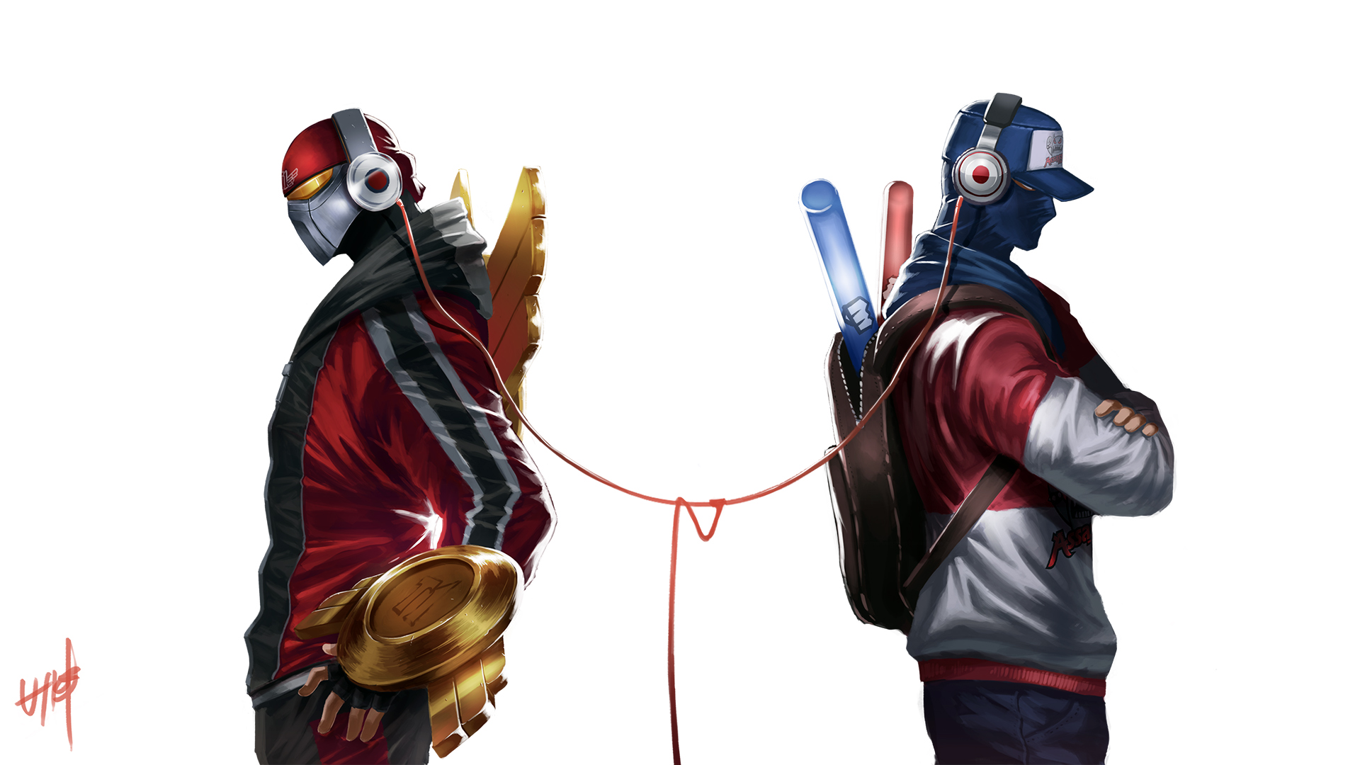 skt t1 zed and tpa shen with headphone skin art