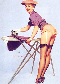 Classy pinup girl doing laundry