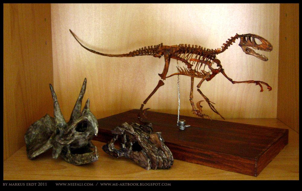 Triceratops skull + Ceratosaurus + Deinonychus